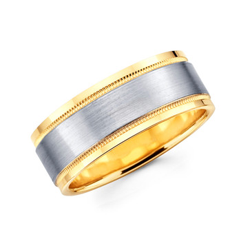 Yellow & white gold wedding band  - BC1-10