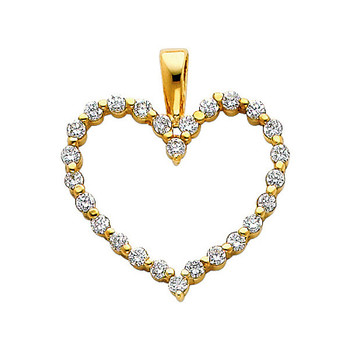 Yellow Gold Pendant - 14 K - CZ - PT580