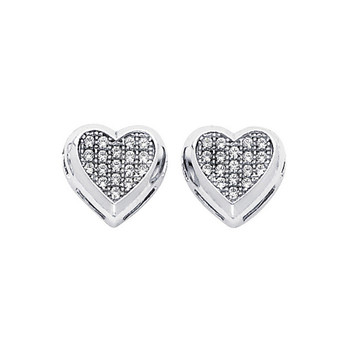 White Gold Earrings - CZ - 14 K  - ER319