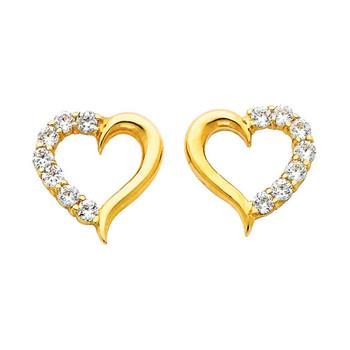 Yellow Gold Earrings - CZ - 14 K - ER317