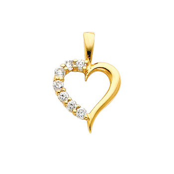 Yellow Gold Pendant - 14 K - CZ  - PT689