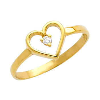 Yellow Gold Love Ring - CZ - 14 K - RG633