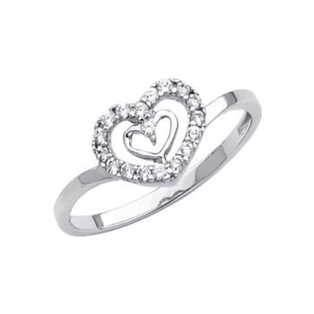 White Gold Love Ring - CZ - 14 K - RG292
