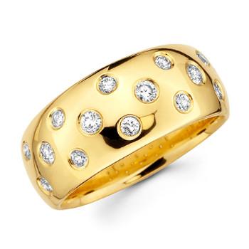 Yellow gold wedding band with diamonds - BD4-18