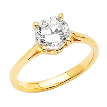Yellow Gold Engagement Ring - 14 K.  2.5 gr - RG3