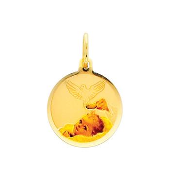 Yellow Gold Baptism Medal. 14 K.  0.9 gr. - PT219