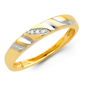 Yellow gold wedding band with Diamonds - 14K  0.03 Ct - DRG6B