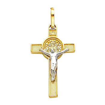 Yellow / White Gold Cross - 14K - 1.5 gr. - PT37