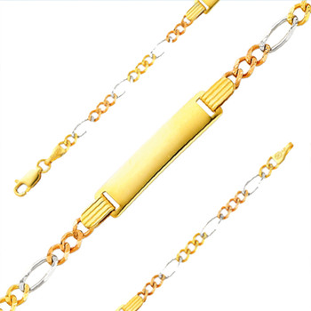 Yellow / White / Red Gold Bracelet - 6 in - 3.4 gr. - AB97