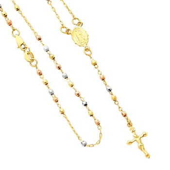 Yellow / White / Red Gold Rosary Necklace - 14 K - NK62