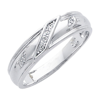 White gold wedding band with Diamonds = 14K  0.05 Ct - DRG11G