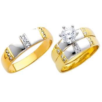 Yellow / White Gold Trio Set - 14 K - TC161