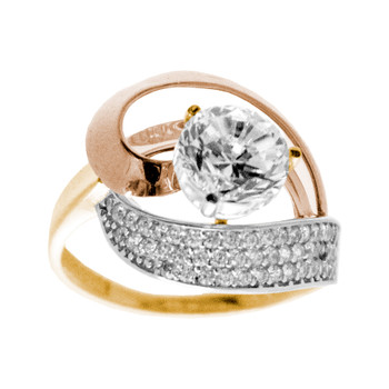 3 Gold Love Ring - CZ - 14 K - RGO-211