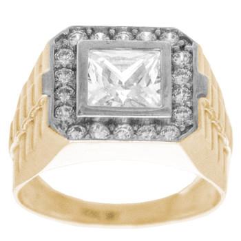 Yellow / White Gold Ring - CZ - 14 K - RGO-253