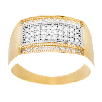 Yellow / White Gold Ring with CZ - 14 K - RGO-258