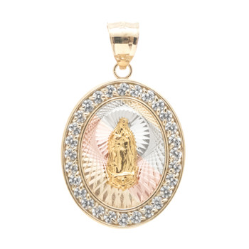 Yellow / White / Red Gold Medal - CZ - Virgen Guadalupe - 14 K - RP203