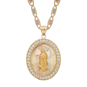 Yellow / White / Red Gold Medal - CZ - Virgin Mary - 14 K - RP215