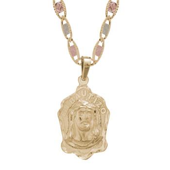 Yellow Gold Baptism Medal - CZ  - Jesus - 14 K - BPT-614