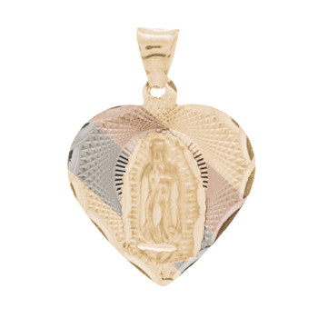 Yellow / White / Red Gold Virgin Mary Medal - 14 K - RP235