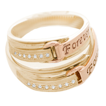 Forever Couple's Ring - Yellow Gold with CZ - RG358