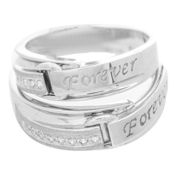 Forever Couple's Ring - White Gold with CZ - RG359