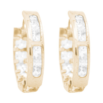 Yellow Gold Earrings - CZ - 14 K - ER353