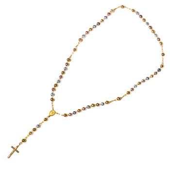 Yellow / White / Red Gold Rosary Necklace - 14 K - NK71