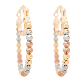 Yellow, Red & White Gold Hoop Earrings - CZ - 14 K  - ER401