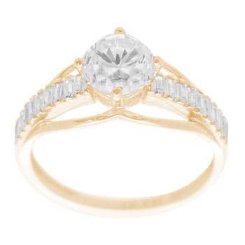 Yellow & White  Gold Ring with CZ - 14 K - RGO325  Yellow & White Gold ring decorated with CZ.  14K | 2.5 gr