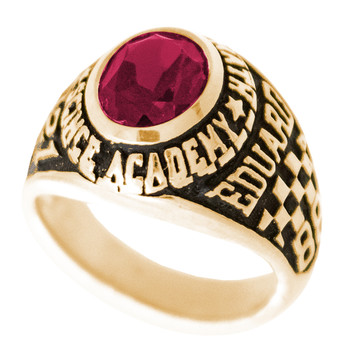 Graduation Ring / Yellow Gold - CZ - GDR163