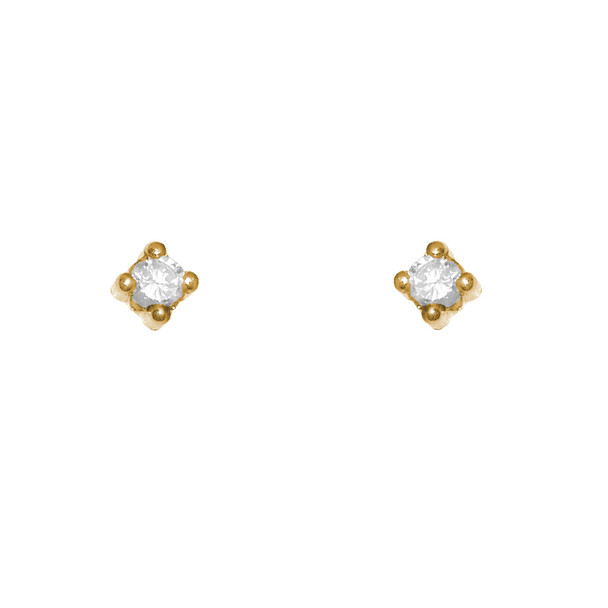 Yellow Gold stud earrings, decorated with CZ. - 77301