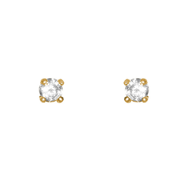 Yellow Gold stud earrings, decorated with CZ. - 777101