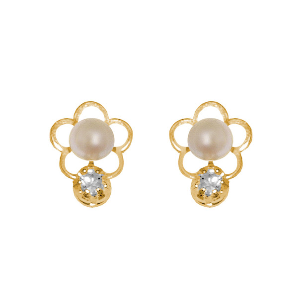 Yellow Gold stud earrings, decorated with CZ. - 834501