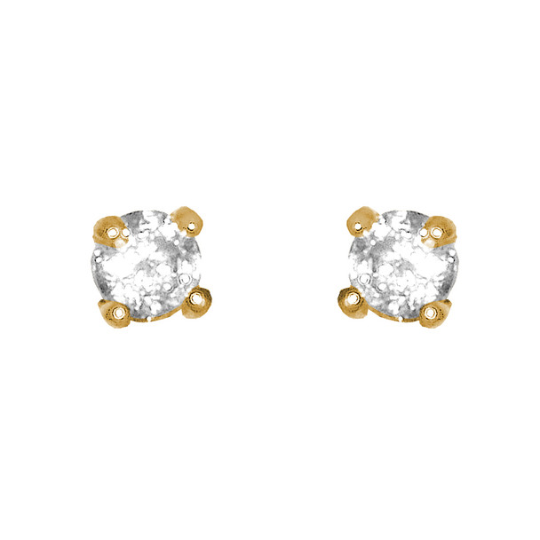 Yellow Gold stud earrings, decorated with CZ. -  777601