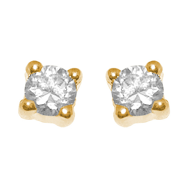 Yellow Gold stud earrings, decorated with CZ.   14K - 628201