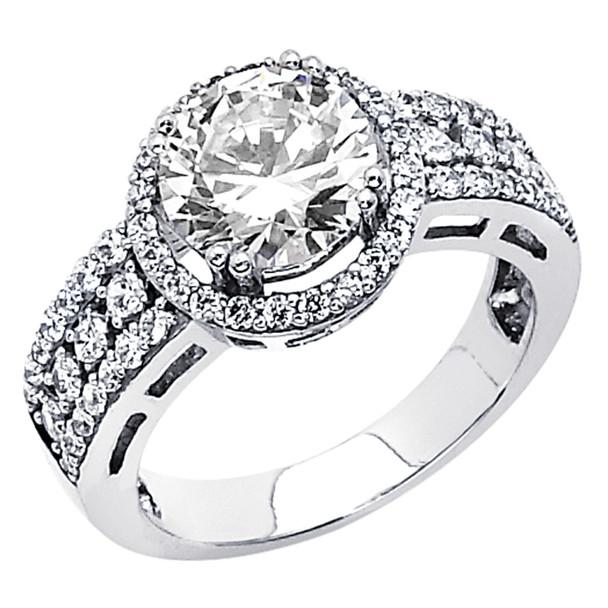 White Gold Engagement Ring - 14K  5.7 gr. - RG64