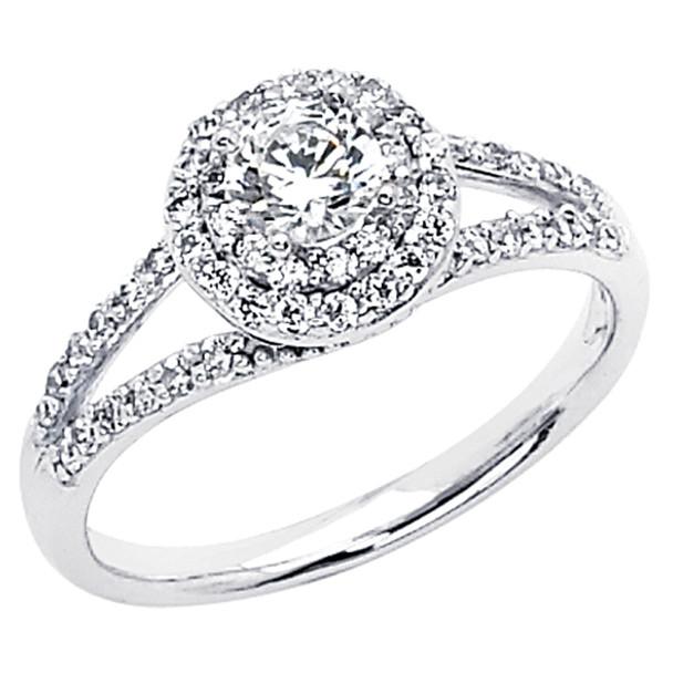 White Gold Engagement Ring - 14K  3.4 gr. - RG54