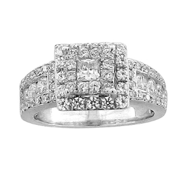 White Gold Engagement Ring with Diamonds - 59057