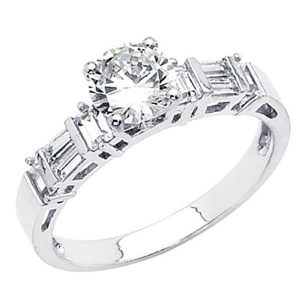 White Gold Engagement Ring 14K  3.3 gr. - RG48