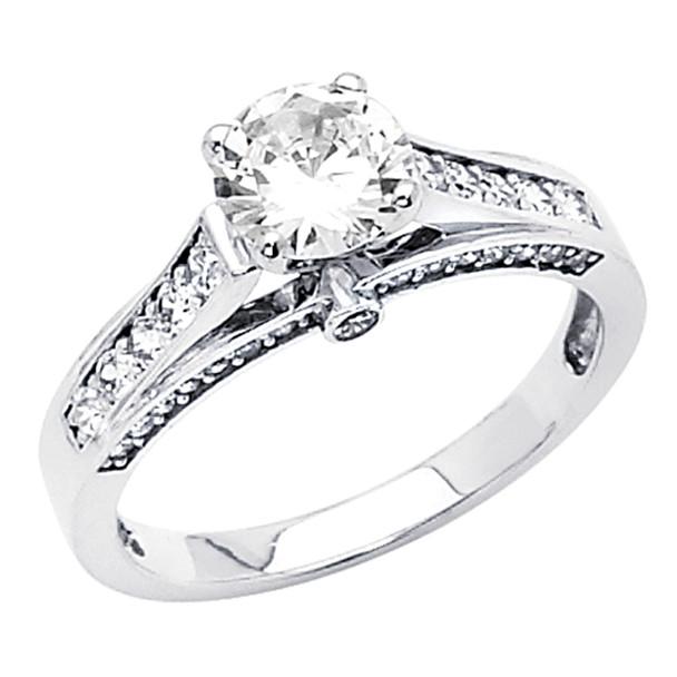 White Gold Engagement Ring - 14K  3.6 gr. - RG46