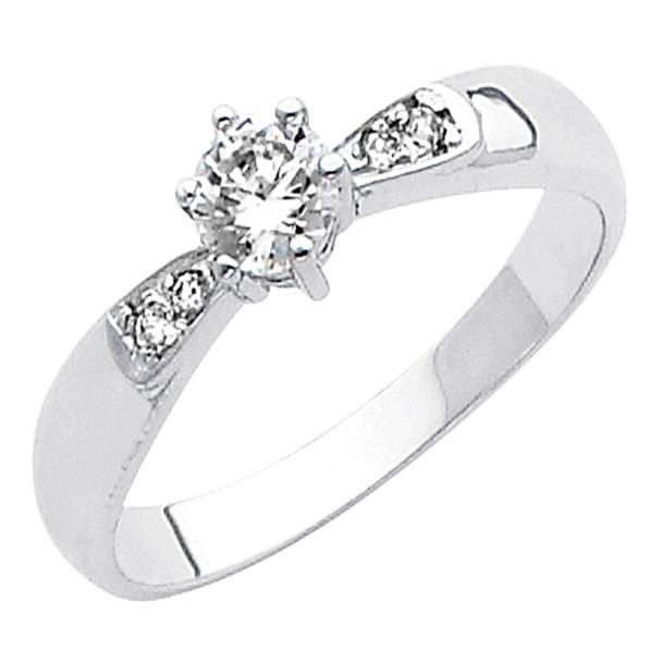White Gold Engagement Ring 14K  2.3 gr. - RG43