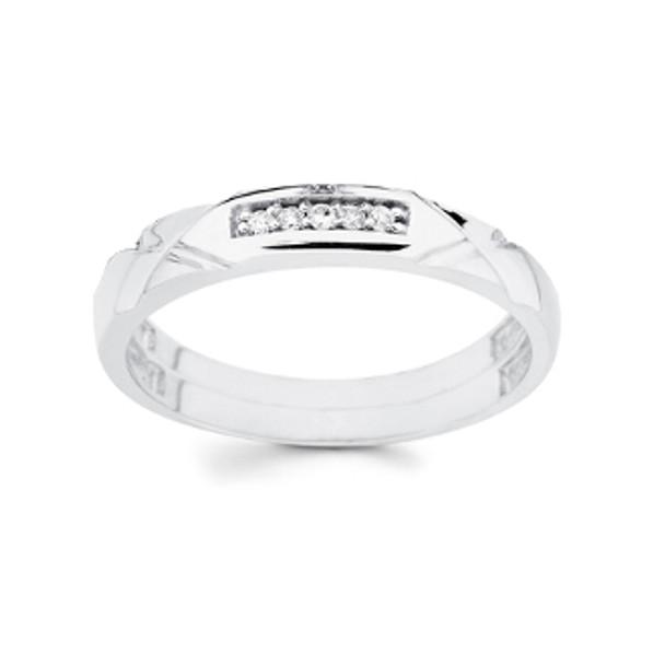 White gold wedding band with Diamonds - 14K  0.03Ct - DRG13B
