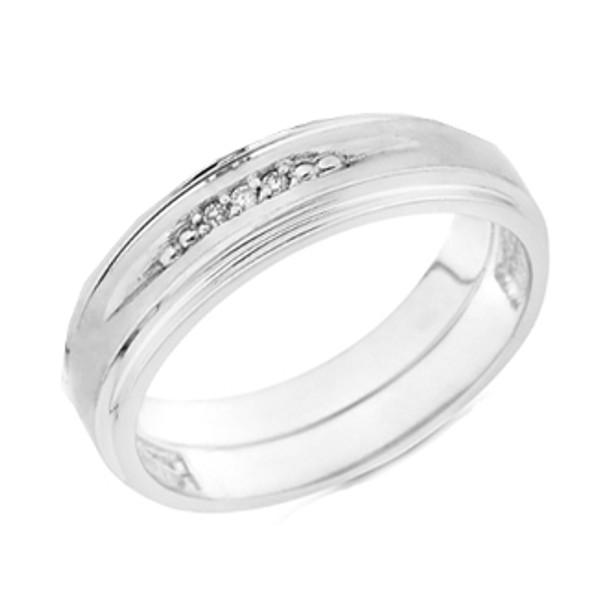 White gold wedding band with Diamonds - 14K  0.05Ct - DRG8B