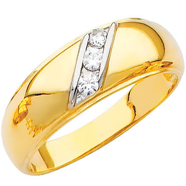 Yellow gold wedding band with CZ - 14K  3.5 gr. - RG209