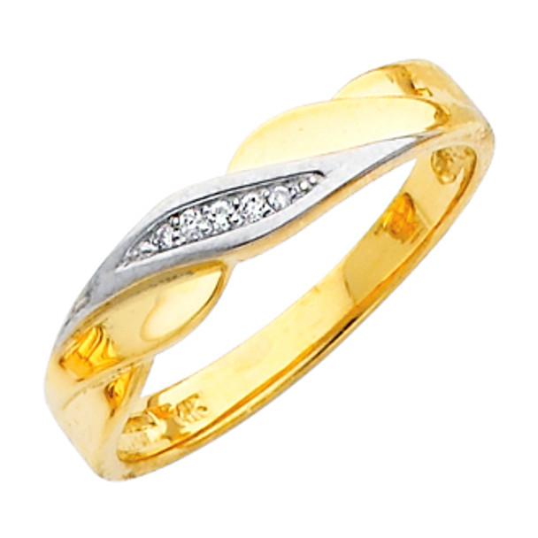 Yellow gold wedding band with Diamonds - 14K  0.05 Ct - DRG5G