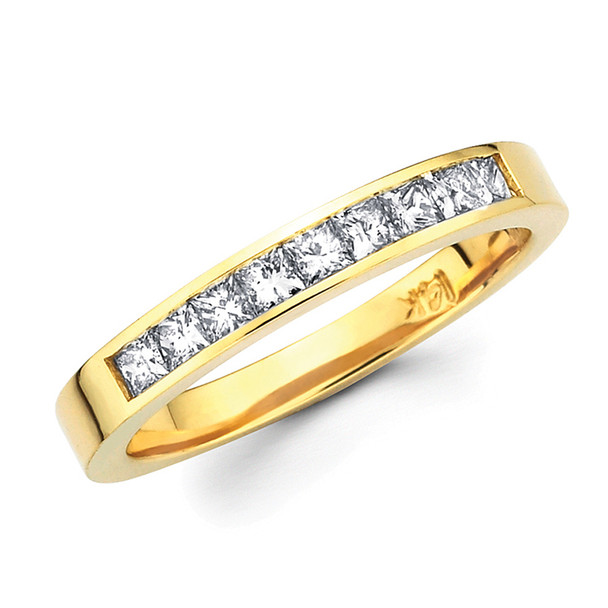 Yellow gold wedding band with diamonds - BD4-8