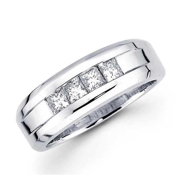 White gold wedding band with diamonds - BD2-2