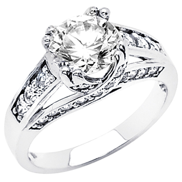 White Gold Engagement Ring - 14K  4.5 gr. - RG51
