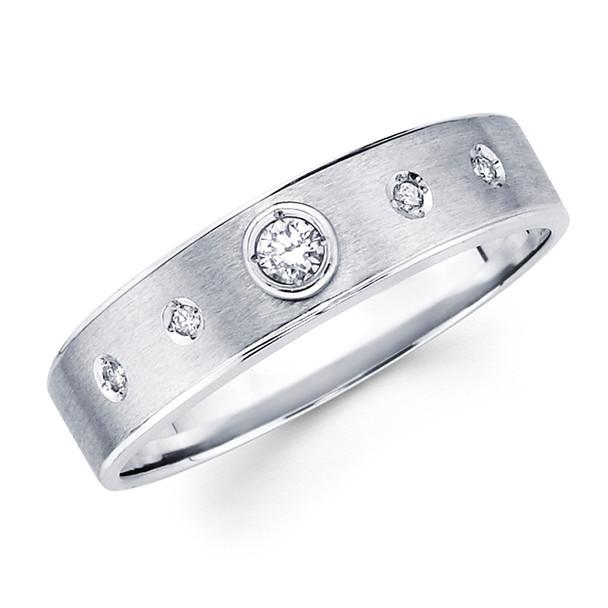 White gold wedding band with diamonds - BD1-17