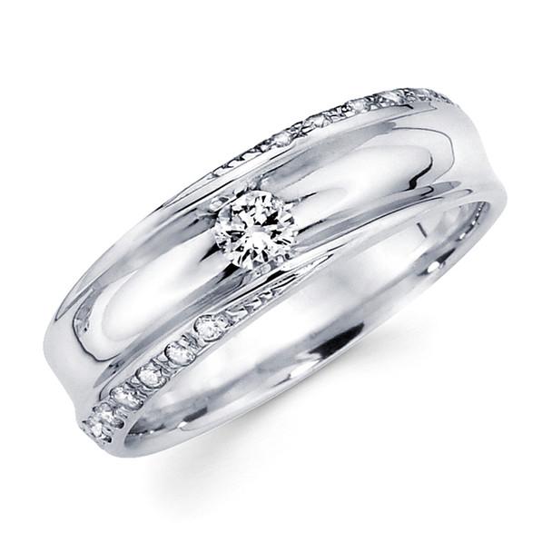White gold wedding band with diamonds - BD1-16